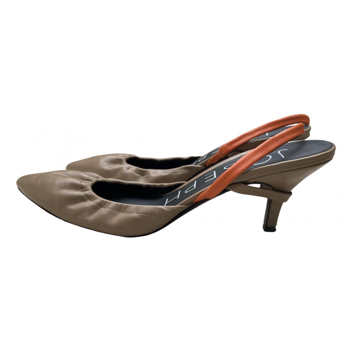 Joseph N Beige Leather Sandals for Women 37 EU