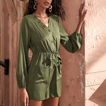 Button Front Dual Pocket Knot Front Romper