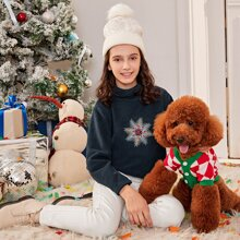 Girls Funnel Neck Embroidered Detail Teddy Pullover
