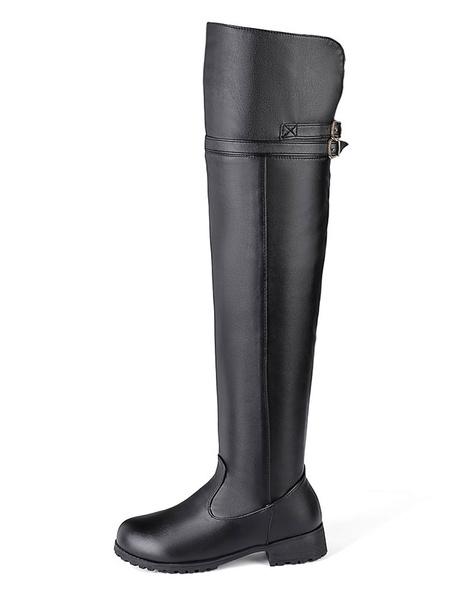 Milanoo Botas altas mujer negro  con hebilla de PU de tacon de puppy de puntera redonda 3cm Color liso Invierno Primavera Cremallera