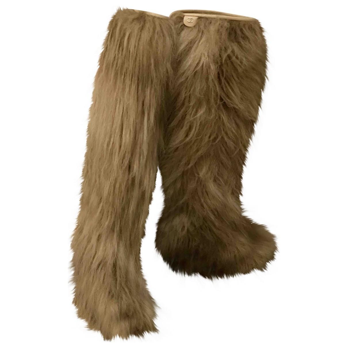 Chanel N Camel Faux fur Boots for Women 38.5 IT