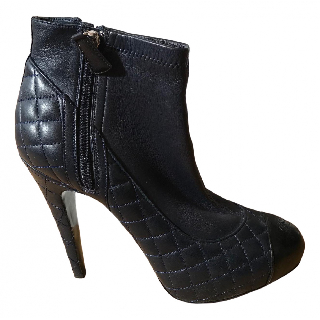 Chanel \N Navy Leather Ankle boots for Women 39.5 EU