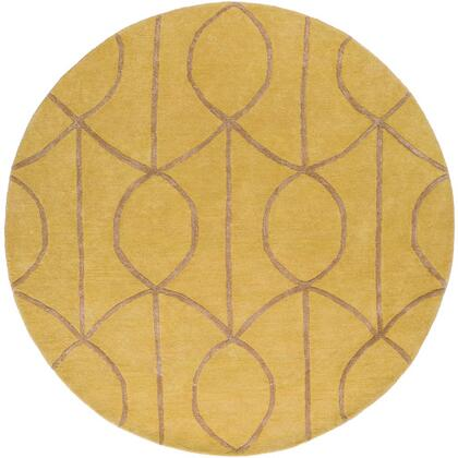 AWUB2164-6RD 6' Round Rug  in Mustard and
