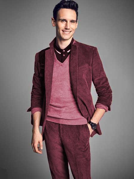 Mens Burgundy Notch Lapel Velvet CORDUROY SUIT Blazer Sportcoat Slacks