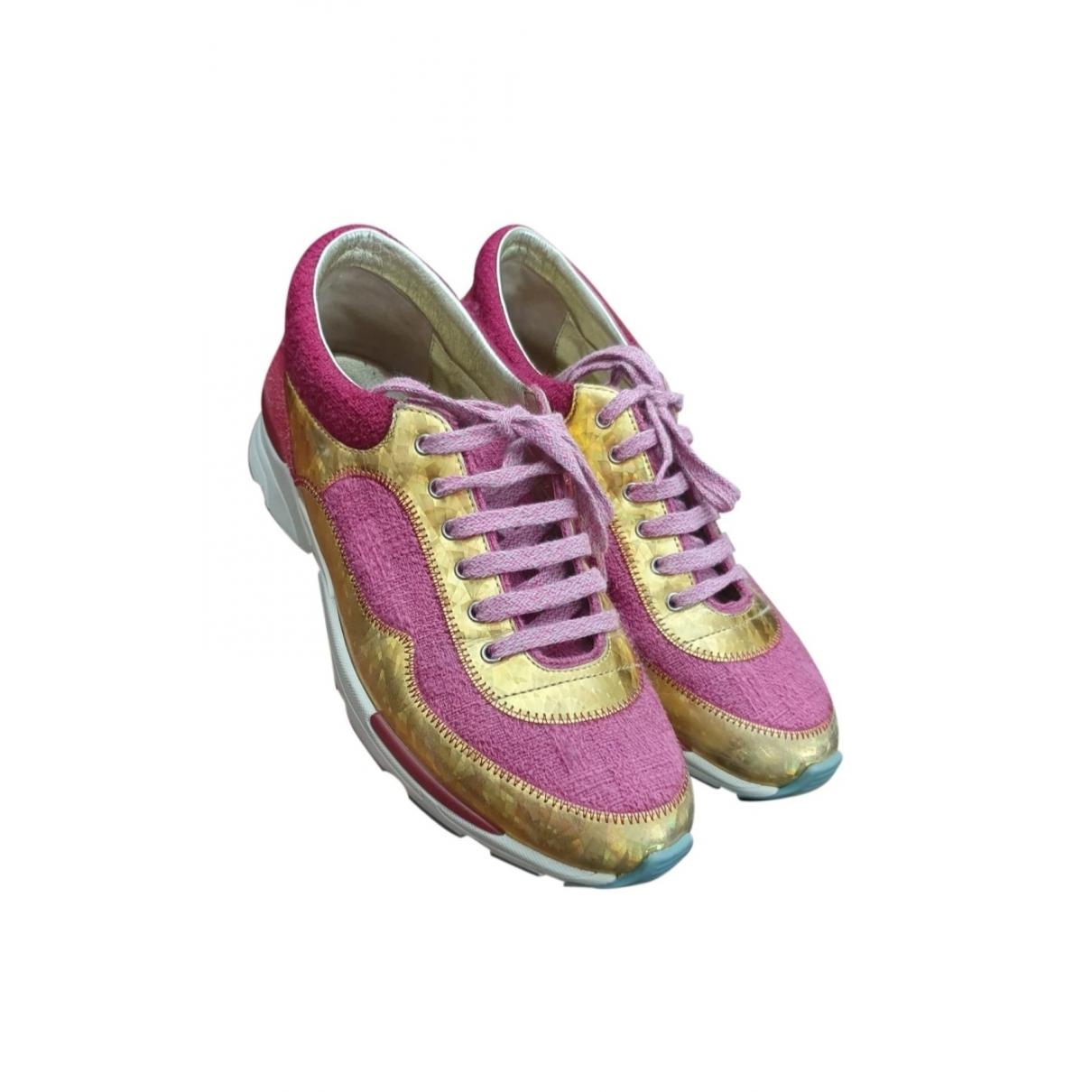 Chanel - Baskets   pour femme en toile - rose