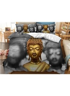 Golden and Grey Buddha Printed 3D 3-Piece Bedding Sets/Duvet Covers