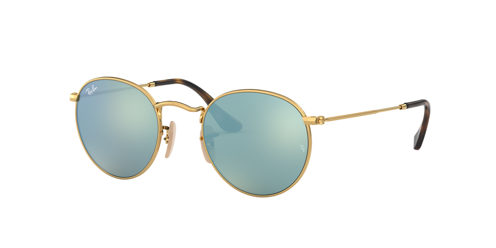 Ray-Ban Unisex  RB3447N ROUND FLAT LENSES -  Frame color: Gold, Lens color: Silver Flash, Size 47-21/140