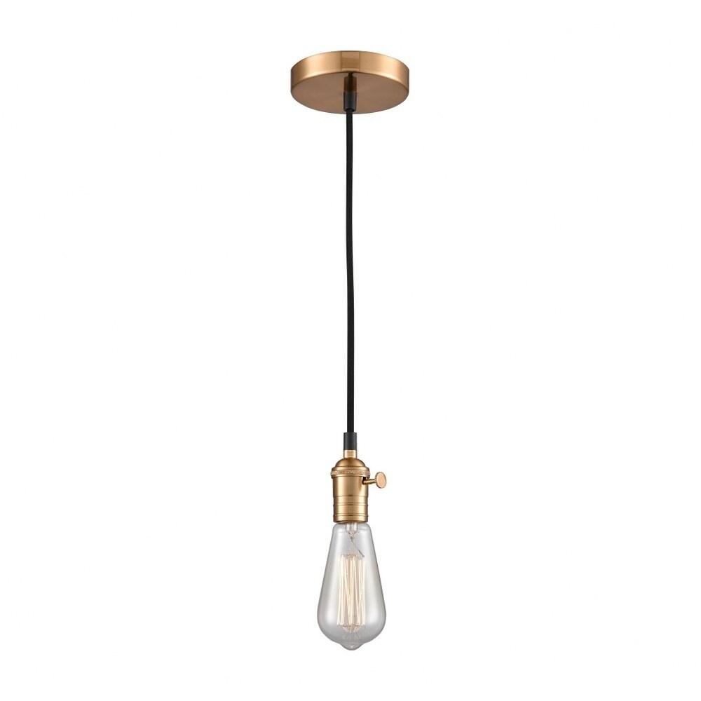 Bare Bulb One Light Pendant - Steampunk Style Single Pendant Light  Dark Nickel Finish (Dark Nickel)