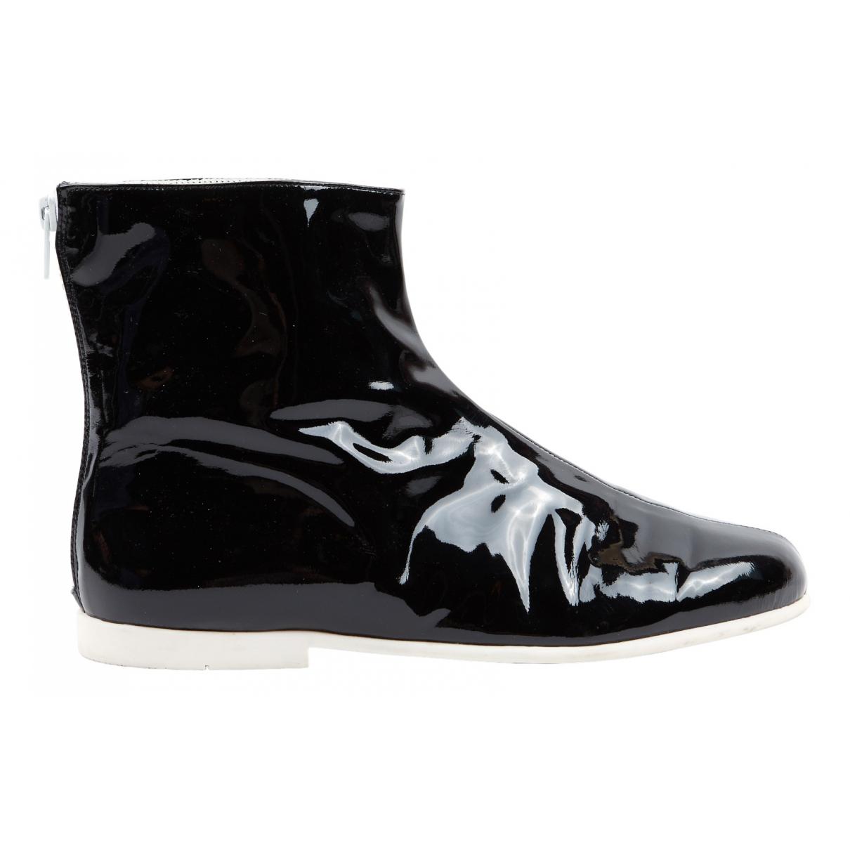 Courreges - Boots   pour femme en cuir verni - noir