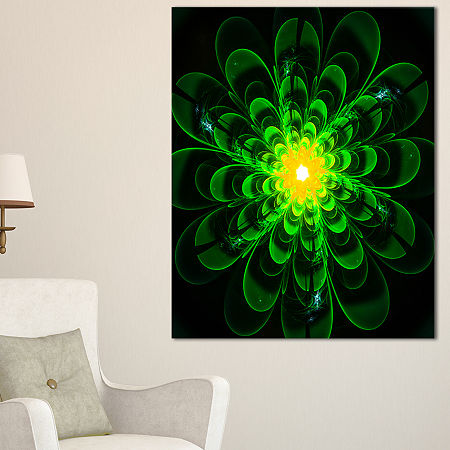 Designart Glowing Green Fractal Flower On Black Floral Canvas Art Print, One Size , Green