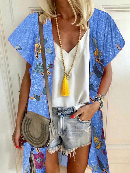 Yoins ZANZEA Floral Print Short Sleeves Open Front Blouse