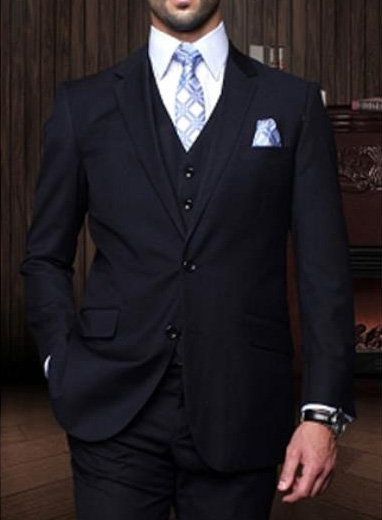 Statement Mens Navy 3 Piece 2 Button Italian Designer Suit