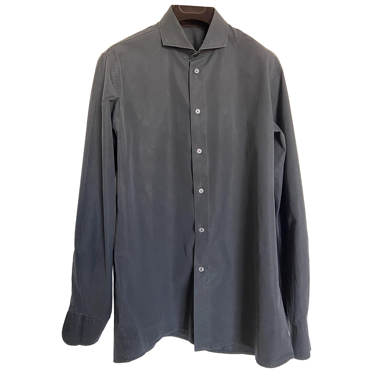Bottega Veneta \N Black Cotton Shirts for Men 41 EU (tour de cou / collar)