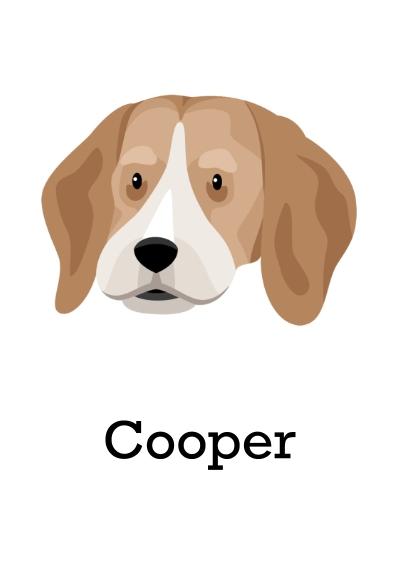 Pets 3.5x5 Folded Notecard, Card & Stationery -Beagle