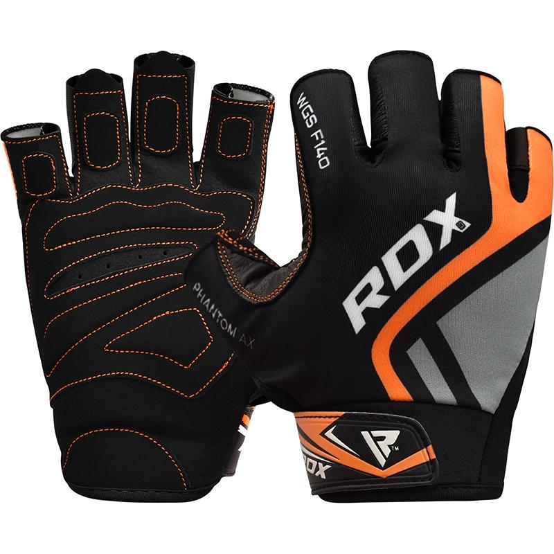RDX F14 Weightlifting Gloves Lycra Half Finger Men Large Orange/Grey/Black