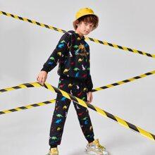 Conjunto capucha con estampado de letra con joggers