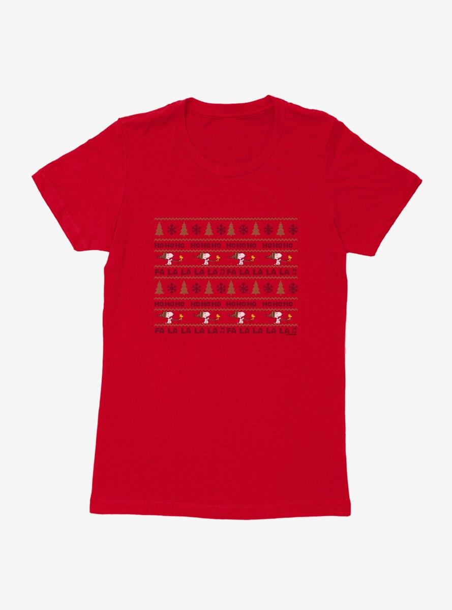 Peanuts Ho Ho Ho Snoopy Christmas Pattern Womens T-Shirt