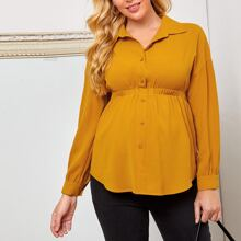 Maternity Elastic Waist Button Front Blouse