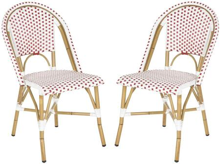 FOX5210C-SET2 Salcha Indoor-Outdoor French Bistro Stacking Side Chair  in Red/White/Light