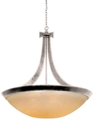 Copenhagen 4348PS/IRSH 40 Pendant in Pearl Silver with Iridescent Shell Natural Bowl Glass