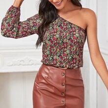 Top mit Blumen Muster und einer Schulter