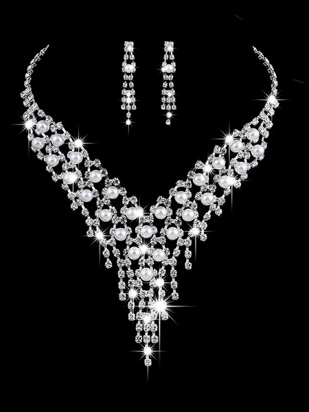 Milanoo Wedding Necklace Set Silver Tassels Pearls Rhinestones Vintage Jewelry Set Bridal Earrings And Necklace