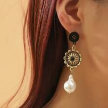 Flower Detail Faux Pearl Drop Earrings