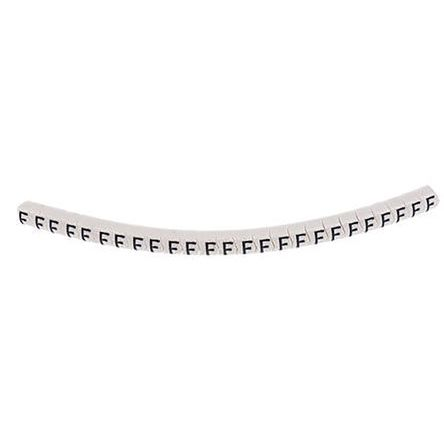 HellermannTyton Helagrip Slide On Cable Marker, Pre-printed F Black on White 1 → 3mm Dia. Range