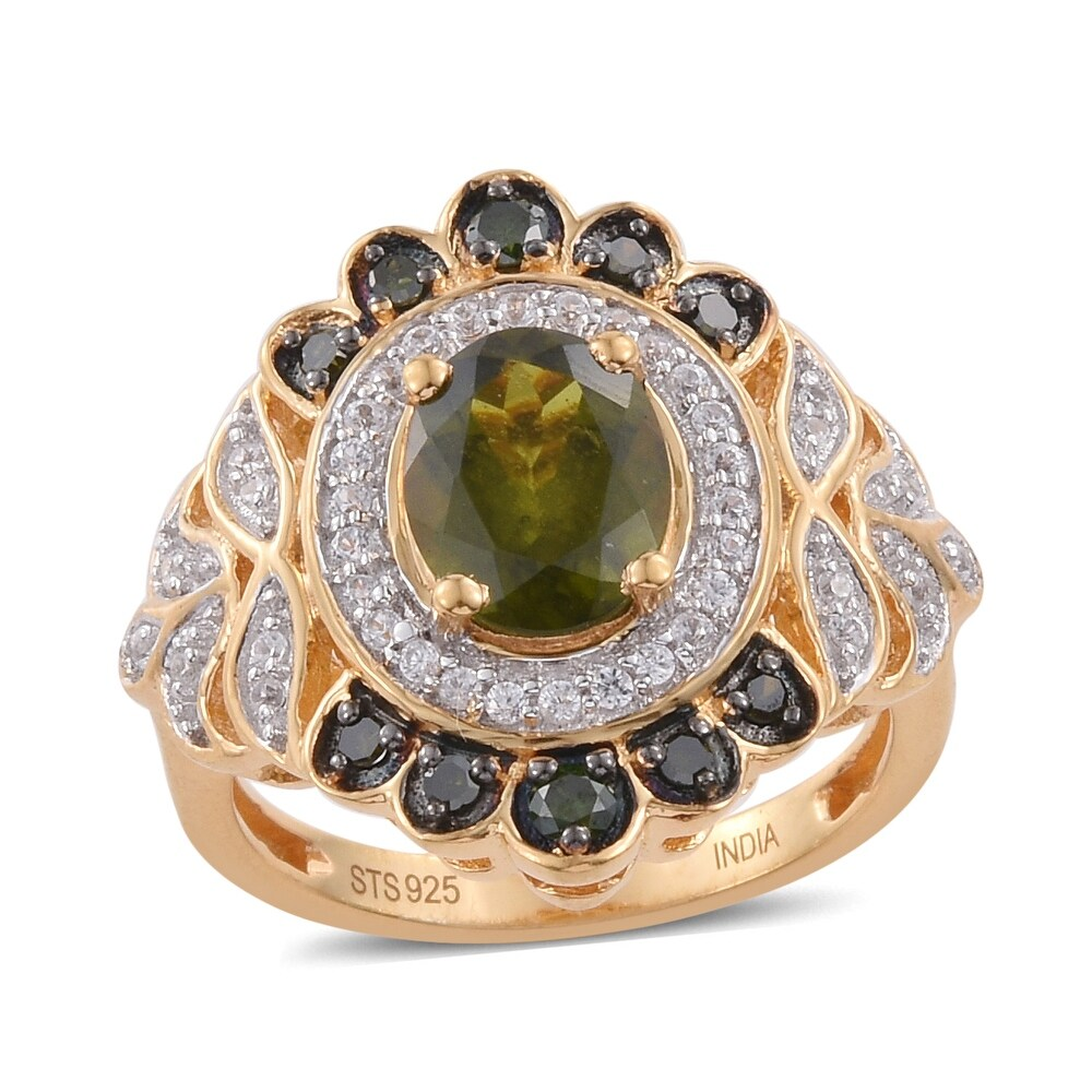 Sterling Silver Vesuvianite Green Diamond Ring Size 7 Ct 0.52 - Ring 7 (Yellow - Multi - Ring 7)