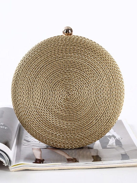 Milanoo Evening Clutch Bags Chains Polyester Fiber Kiss Lock Closure Chic Special Occasion Handbags