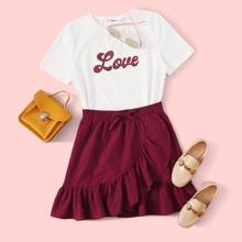 Girls Letter Graphic Top & Ruffle Hem Wrap Skirt Set