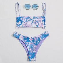 Bikini Badeanzug mit Batik und hohem Ausschnitt