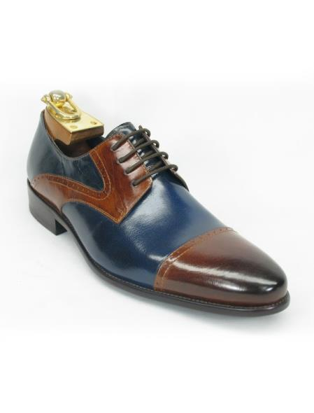 Mens Cap Toe Fashionable Brown/Navy Lace Up Style Shoe