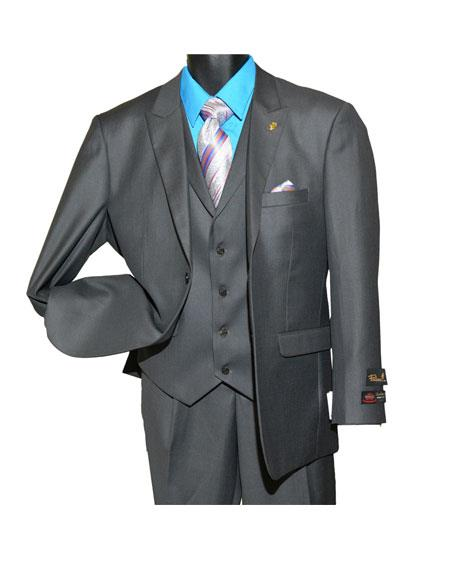 Falcone Mens Fashion Charcoal Peak Single Breasted 2Button Vested Suit