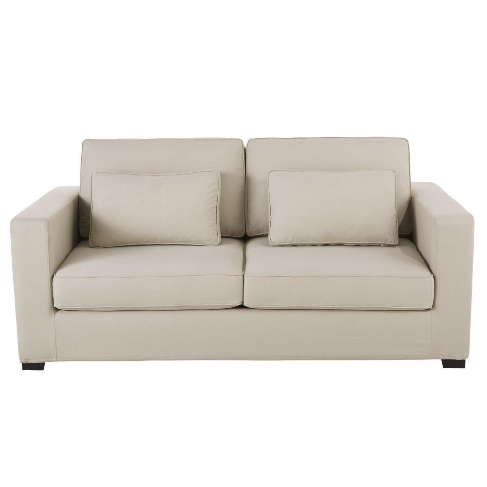Ausziehbares 3-Sitzer-Sofa aus Baumwolle, graubeige Milano, Matratze 6 cm Milano