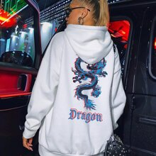 Chinese Dragon And Letter Graphic Oversized Hoodie
