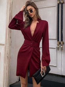 Split Sleeve Buckle Belted Blazer Dress