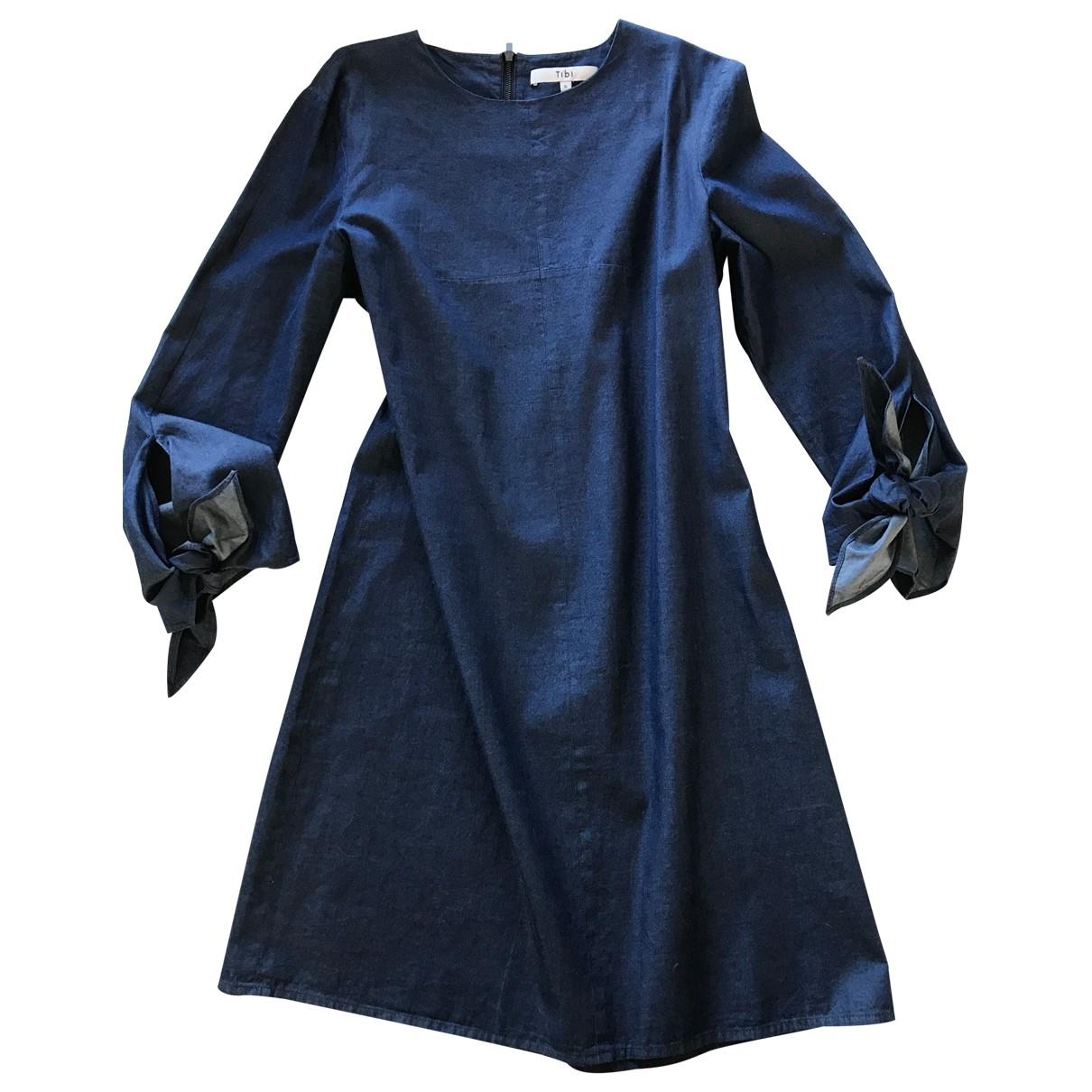Tibi \N Kleid in  Marine Baumwolle