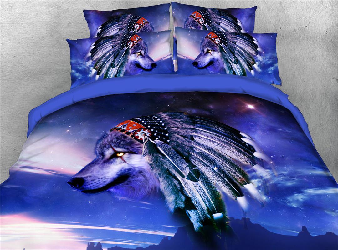 Indian Wolf Duvet Cover Set Hand Wash Four-Piece Set Polyester Bedding Sets