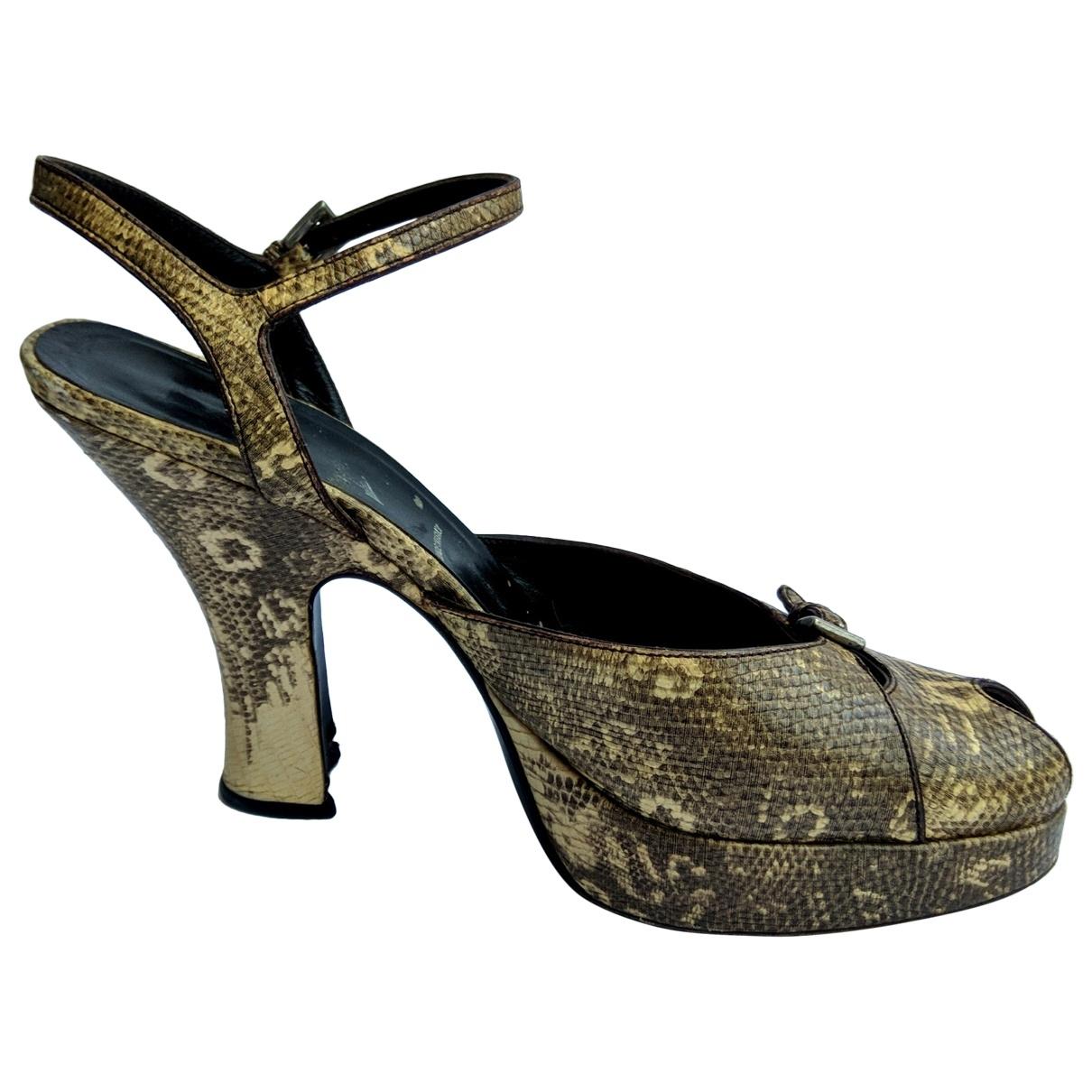 Prada \N Khaki Leather Heels for Women 39 EU