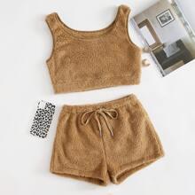 Pajama Set einfarbiges Crop Tank Top & Shorts