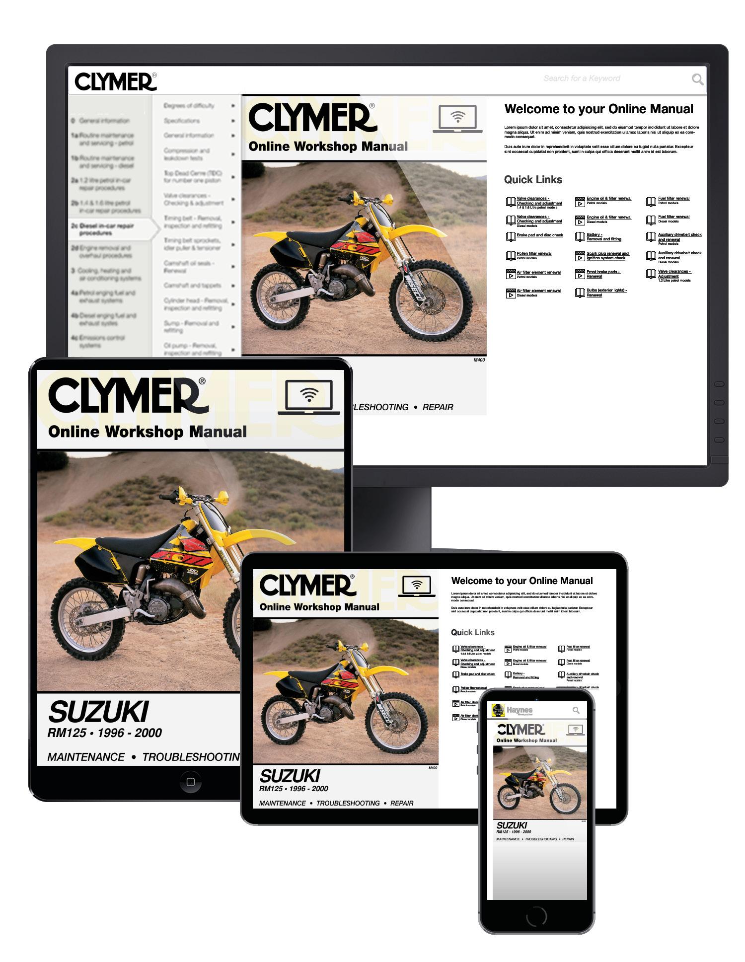 Suzuki RM125 Motorcycle (1996-2000) Service Repair Manual Online Manual