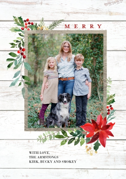 Christmas Photo Cards Flat Matte Photo Paper Cards with Envelopes, 5x7, Card & Stationery -Christmas Woodgrain Merry Foliage by Tumbalina