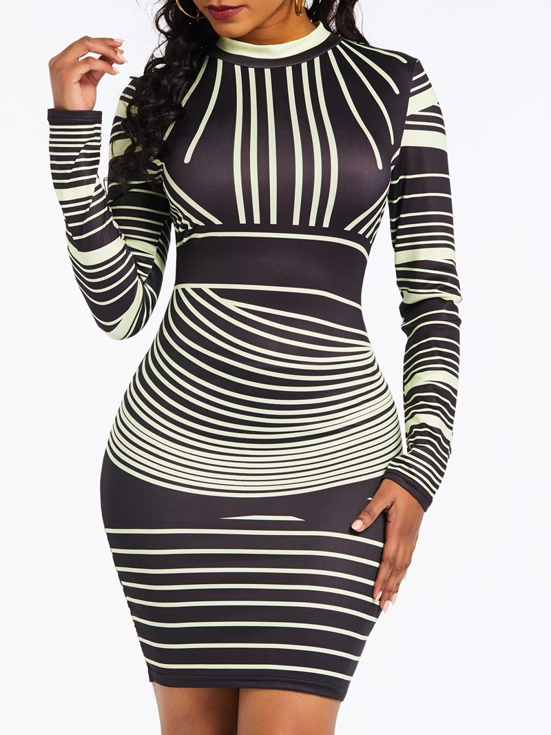 Ericdress Above Knee Long Sleeve Stripe Bodycon Dress