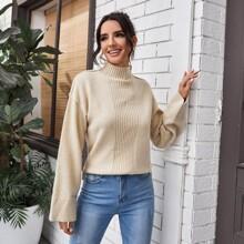 High Neck Rib-knit Sweater