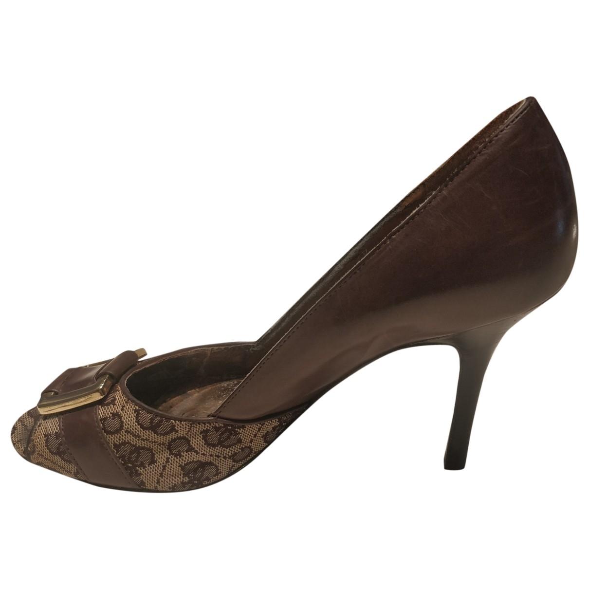 Guess - Escarpins   pour femme en cuir - marron