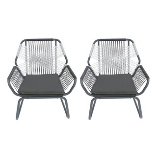 Idaho Outdoor Rope Club Chairs (Set of 2) by Christopher Knight Home (gray)