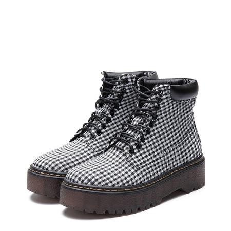 Yoins Grid Pattern Lace-up Gum Sole Short Boots