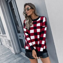 Drop Shoulder Plaid Sweater