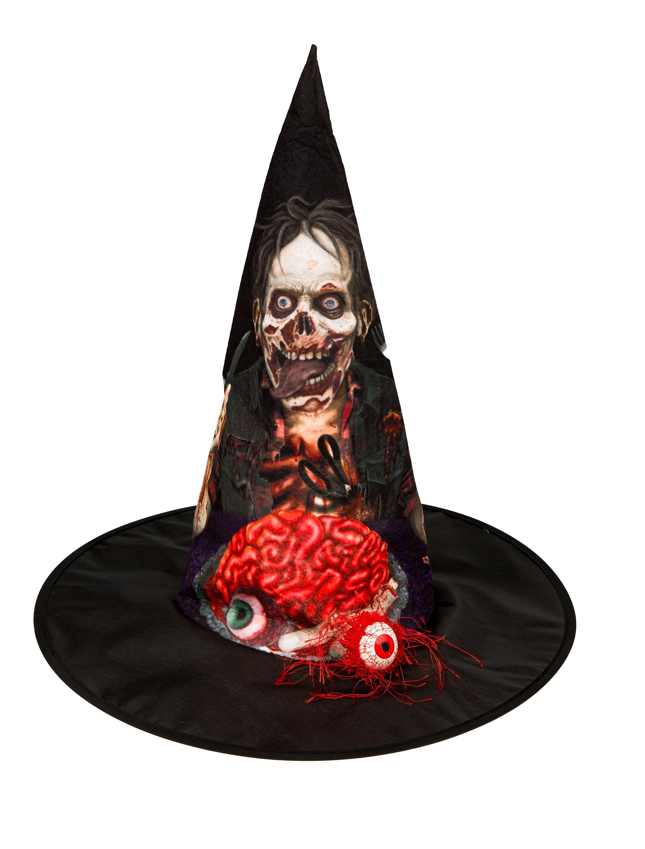 Kostuemzubehor Hexenhut Zombie mit Auge Farbe: schwarz